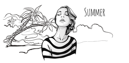 Young cute fashionable girl with closed eyes on tropical beach with palm trees. Vector hand-drawn sketch illustration, black and white.