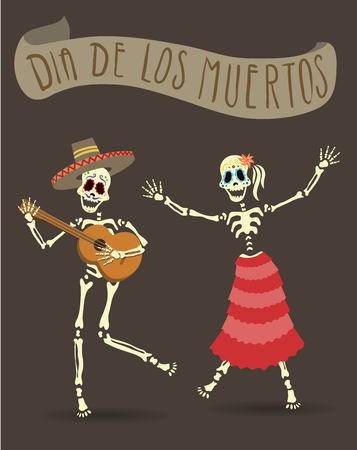Invitation poster for Day of the Dead Ilustração