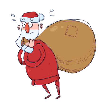 Cute cartoon Santa Claus with a heavy sack of gifts. Illustration