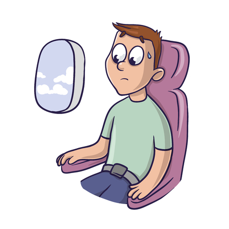 Worried frightened man in the airplane seat.