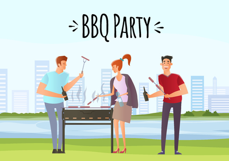 People on picnic or Bbq party. Illustration