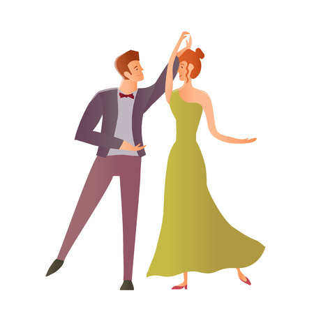 Young happy couples in love. Man and woman dancing ballroom dance. Vector Illustration, isolated on white background. Illustration