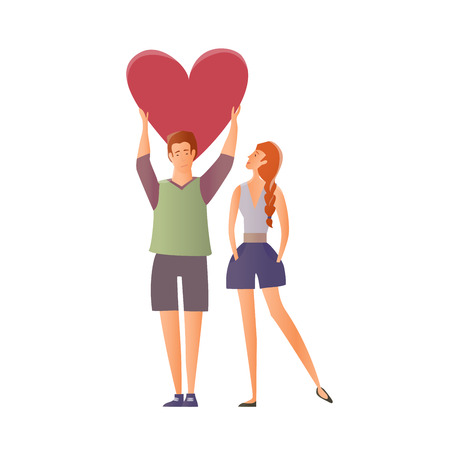 Young couple in love. Man and woman on a romantic date. A man holding a heart. Vector illustration. Stock Vector - 88221716