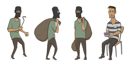 A burglar, robber, thief. Illustration