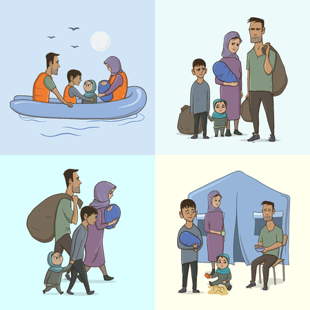 The Refugee Family with Children. Sailing to Europe on the Boat. Land Transition and Life in the Refugee Camp. European Migrant Crisis Concept. Vector Illustration, isolated. Vettoriali