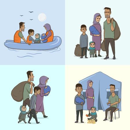 La familia de refugiados con niños. Navegando a Europa en el barco. Transición terrestre y vida en el campo de refugiados. Concepto europeo de crisis migratoria. Ilustración del vector, aislado.