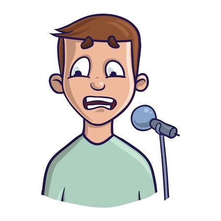 Paura di parlare in pubblico, glossofobia. Eccitazione e perdita di voce. Giovane uomo con microfono. Illustrazione vettoriale, isolato su sfondo bianco.