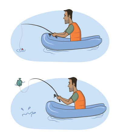 Fisherman. A man with a fishing rod in an inflatable boat caught a fish. Vector Illustration, isolated on white background.
