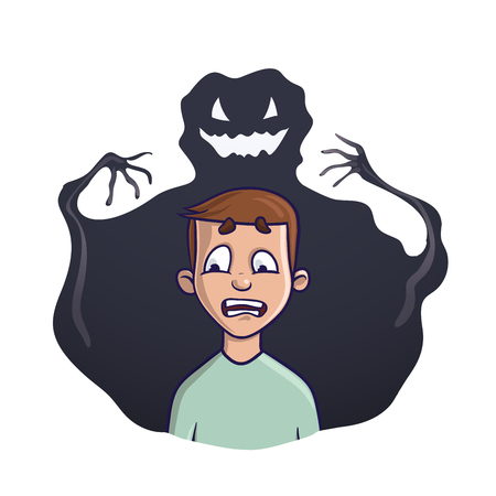 The young man and the shadow monster behind him. Vector illustration on the theme of insomnia, nightmares, fears. Isolated on white background. Illustration
