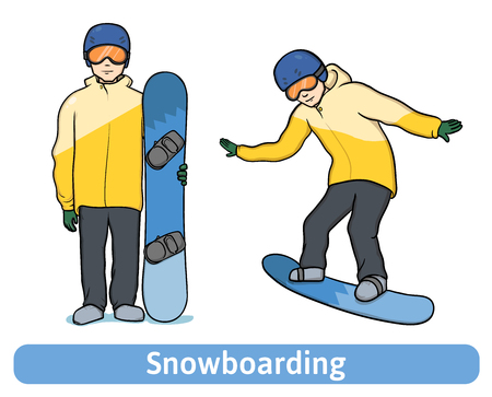 A young man with snowboard, standing and in motion. Snowboarding, extreme winter sport, active recreation. Vector Illustration, isolated on white background.