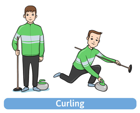curler: The young man, player in Curling, standing and in motion. Winter sport, active recreation. Vector Illustration, isolated on white background. Illustration