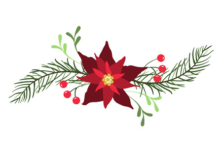 Floral design element for Christmas and New Year holiday cards.