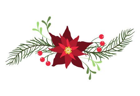 Elemento di disegno floreale per biglietti di auguri di Natale e Capodanno. Archivio Fotografico - 88425990