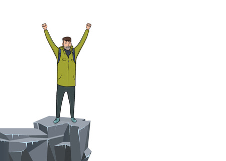 A young happy man with raised hands on the edge of the cliff. Illustration