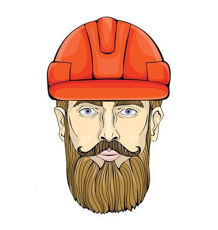 Bearded man in a construction helmet