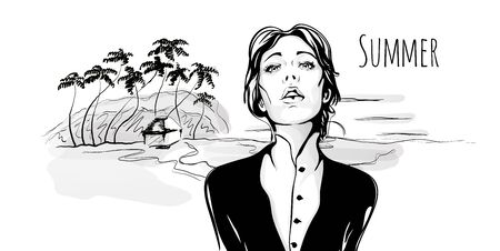 Young cute fashionable girl walking on tropical beach with palm trees. Vector hand-drawn sketch illustration, black and white.