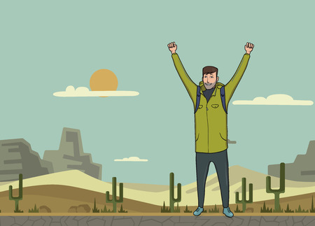 A young happy man, backpacker with raised hands in the desert. A symbol of success. Vector Illustration with copy space.