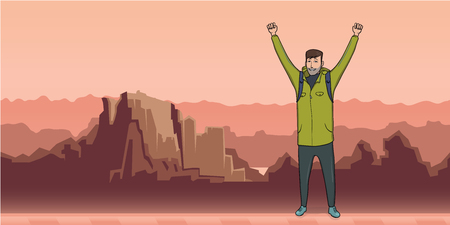 A young happy man, backpacker with raised hands in mountain landscape. A symbol of success. Vector Illustration with copy space.