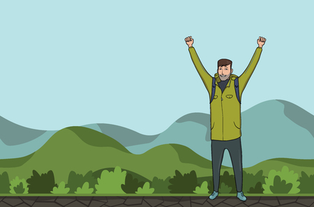 A young happy man, backpacker with raised hands in a hilly area. A symbol of success. Vector Illustration with copy space.