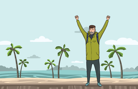 A young happy man, backpacker with raised hands on the sea beach. Hiker, Explorer. A symbol of success. Vector Illustration with copy space.