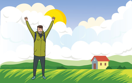 Happy young man on the morning walk in the agricultural landscape; A tourist with their hands up, a gesture of success to goals.