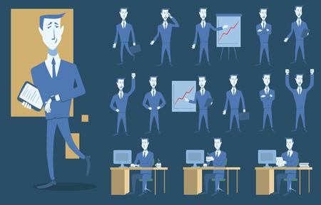 Set of business people and different scenario. Ilustração