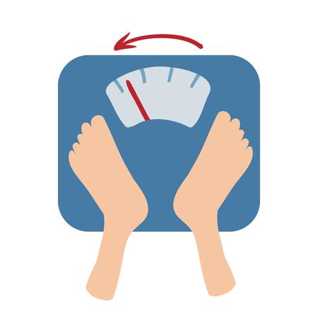 Le bilance rilevano la perdita di peso per numero e una freccia. Vettoriali