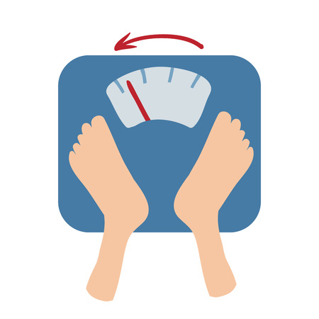 Scales detect weight loss by number and an arrow. 免版税图像 - 89146545