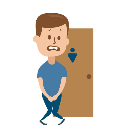Stressed guy wanting to pee stands in front of a  door. 일러스트