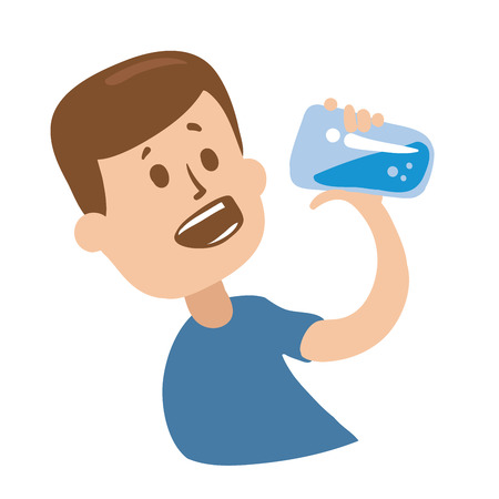 Cheerful guy drinking water.