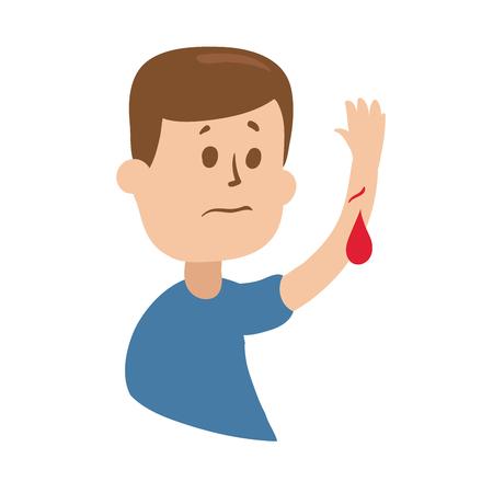 Zdenerwowany facet podnosi ranną rękę z krwią.