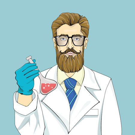 Bearded scientist in white robe holds vial with red fluid.