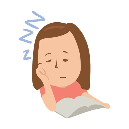 Sleepy girl with closed eyes in front of an open book. Isolated flat illustration on white backgroud. Cartoon vector image.