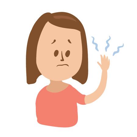 Verbaasd meisje kijkt naar haar tintelende hand met denkbeeldige blauwe golven. Geïsoleerde vlakke illustratie op witte achtergrondgeluid. Cartoon vector afbeelding.