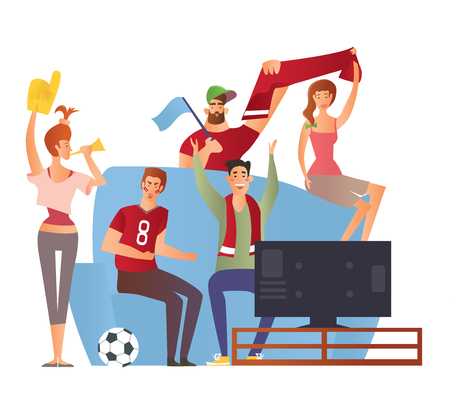 Group of sport fans with football attributes cheering for the team in front of TV-set on a couch. Flat vector illustration on a white background. Cartoon character image.