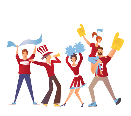 Gruppo di appassionati di sport con attributi calcistici tifo per la squadra. Illustrazione vettoriale piatto, isolato su uno sfondo bianco. Immagine personaggio dei cartoni animati.