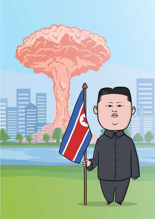 vector nuclear: OCTOBER, 30, 2017: Nuclear bomb explosion in the big city, mushroom clouds and caricature character of the North Korean leader Kim Jong-UN, standing with flag. Vector Illustration.