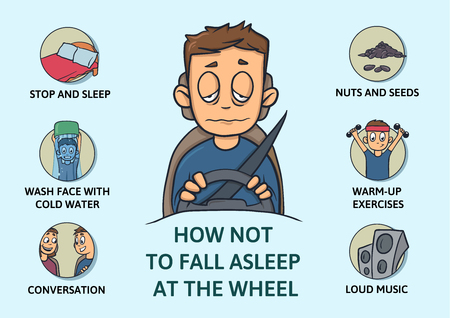 Set of tips to stay awake while driving. Sleep deprivation. How not to fall asleep at the wheel. Isolated vector illustration on blue background. Cartoon style. Infogrphics.