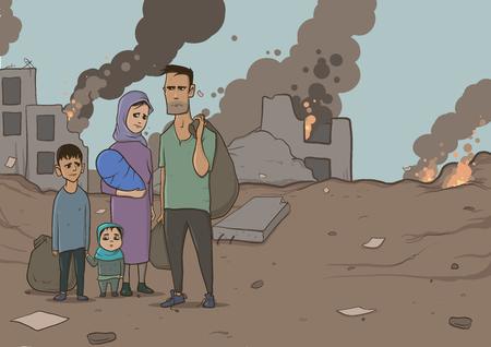 Família dos refugiados com as duas crianças no fundo destruído das construções. Religião da imigração e tema social. Crise de guerra e imigração. Personagens de ilustração vetorial horizontal. Ilustración de vector