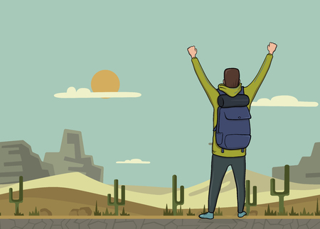 A young happy man, back view of backpacker with raised hands in the desert. Hiker, Explorer. A symbol of success. Vector Illustration with copy space.