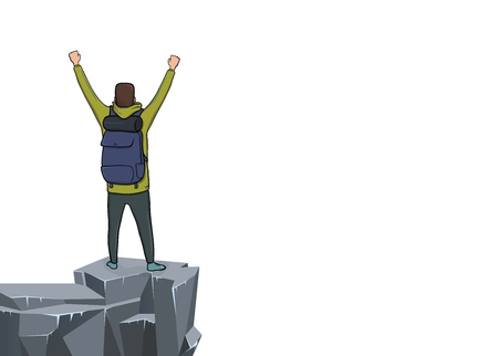 Back view of young happy man with raised hands on the edge of the cliff. Mountain hiker, Explorer, mountaineer. A symbol of success. Vector Illustration with copy space on white background.