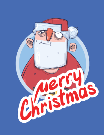 wasted: Christmas card with funny boozy Santa Claus. Santa Claus got wasted. Lettering on blue background. Round design element. Cartoon character vector illustration. Illustration