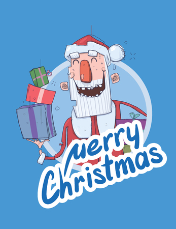 Christmas card with funny Santa Claus smiling. Santa Claus brings presents in boxes. Lettering on blue background. Round design element. Cartoon character vector illustration.