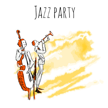 Jazz musicians play trumpet and contrabass on watrecolor background. Vector jazz party poster template with copy space. Çizim