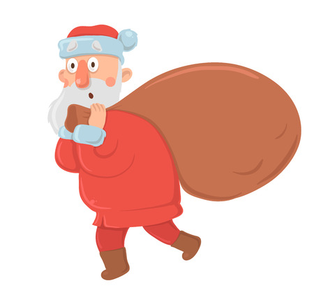 Funny bewildered Santa Claus with big bag of gifts stares in awe on white background. Illustration