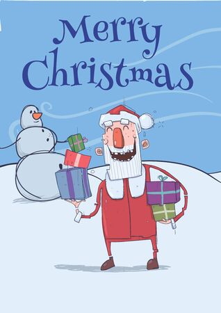 Christmas card with funny smiling Santa Claus. Santa brings presents in colorful boxes past snowman. Frosty windy weather. Vertical vector illustration. Cartoon characters with lettering. Copy space.