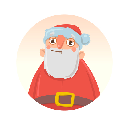 Christmas card with funny boozy Santa Claus. Santa Claus got wasted. Isolated on white background. Round design element. Cartoon character vector illustration.