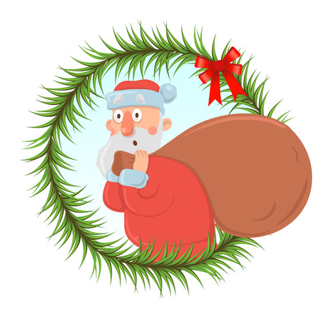 Christmas card with funny Santa Claus carrying big bag of presents. Santa looks bewildered and agitated. Round frame of fir branches, design element, isolated. Cartoon character vector illustration. Illustration