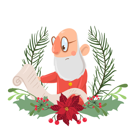 Santa Claus character in a Christmas wreath reading a roll of paper. Vector illustration, isolated on white background.