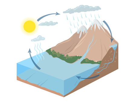 Vector schematic representation of the water cycle in nature, hydrological cycle. Isometric infographics Illustration.